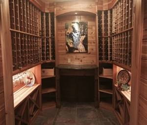 wine cellar remodel by Hartland Construction